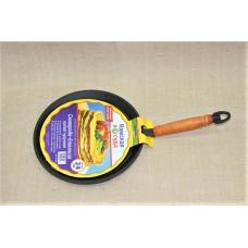Сковорода литая чугунная блинная 240*15 с деревянной ручкой