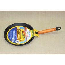 Сковорода литая чугунная блинная 220*15 с деревянной ручкой
