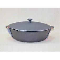 Сковорода литая чугунная 280*80 с двумя ушками с алюмин. крышкой